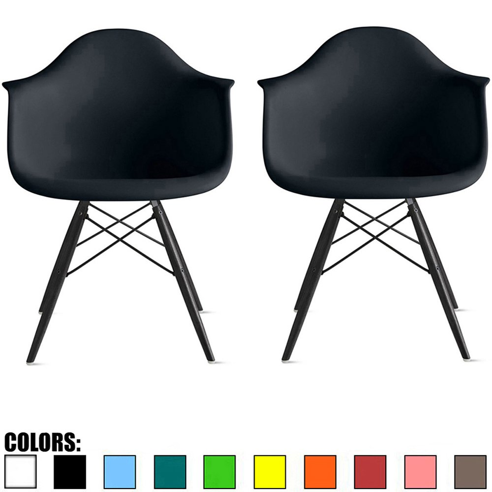 Merveilleux 2xhome Set Of 2 Black Mid Century Modern Designer Contemporary Vintage  Office Chairs Dining No Wheels Living Kitchen Guest With Arms Molded  Armchairs Solid ...