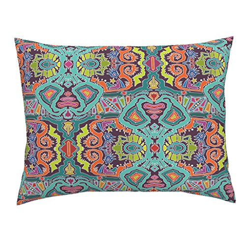 Ikat Euro Sham - Roostery Ikat Euro Knife Edge Pillow Sham Ikat Doodle by Scrummy Natural Cotton Sateen made by