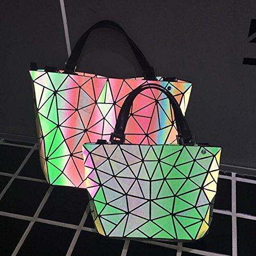 Bolsos holograma de del de del del de plegables big mujeres las Bolsos acolchados del la hombro totalizador geometría plegamiento laser 1qppwPFR