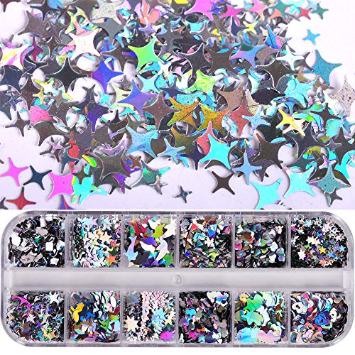 MissBabe 12 Shape Laser Flakes Nail Sequins Holographic Star Love Hearts Notes Manicure 3D Thin Nail Glitter