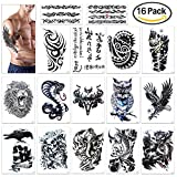 Temporary Tattoo for Guys for Man - Konsait Extra Fake Temporary Tattoo Black tattoo Body Stickers Arm Shoulder Chest & Back Make Up - Lion, Dead Skull,Koi Fish, Eagle Hawks Tribal Symbols
