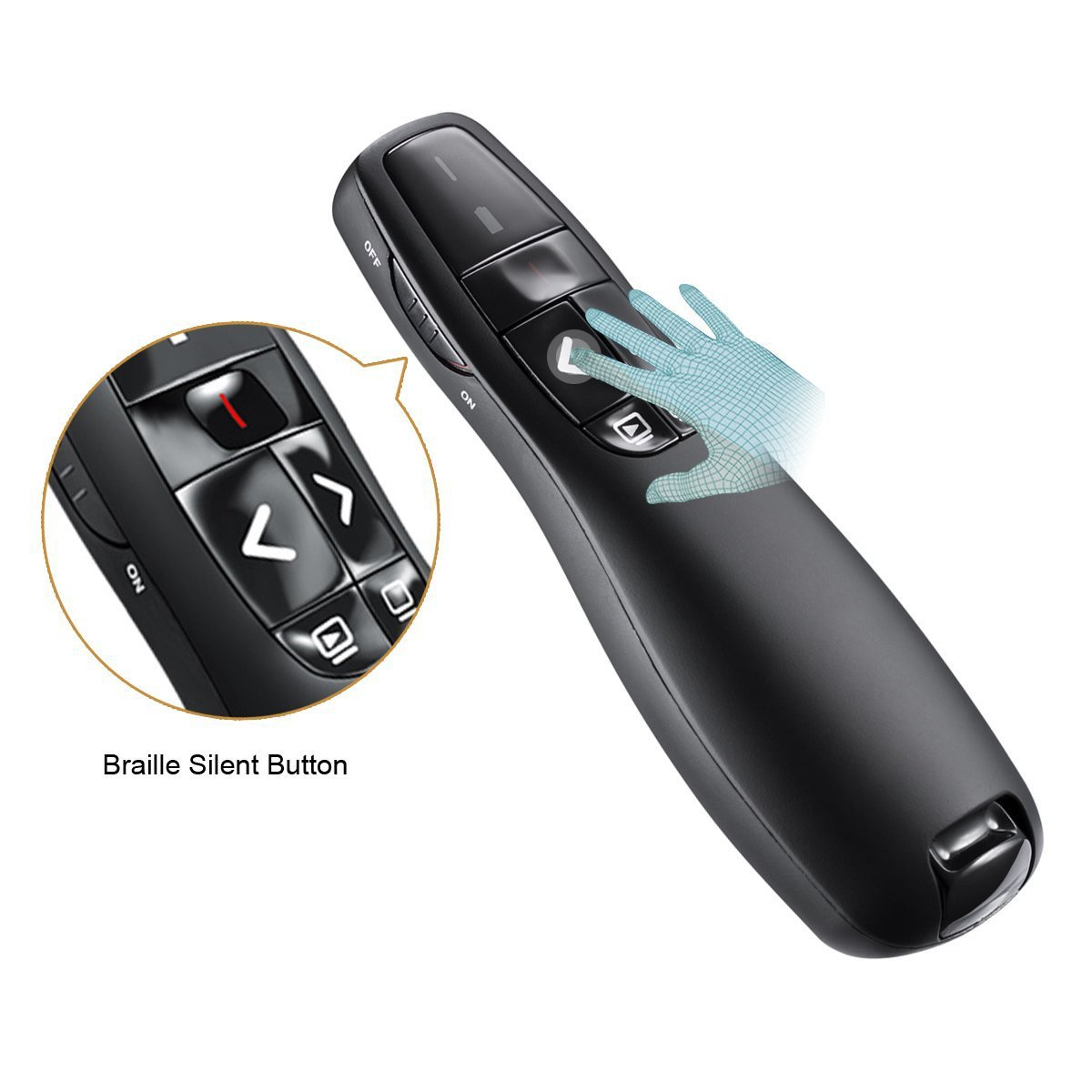 Wireless Presenter with Laser Pointer, 2.4GHZ Support Topic Speech and Super URL, Powerpoint Presentation Remotes R400-Bollaer, USB Control for Teaching and Meeting by BOLLAER (Image #4)