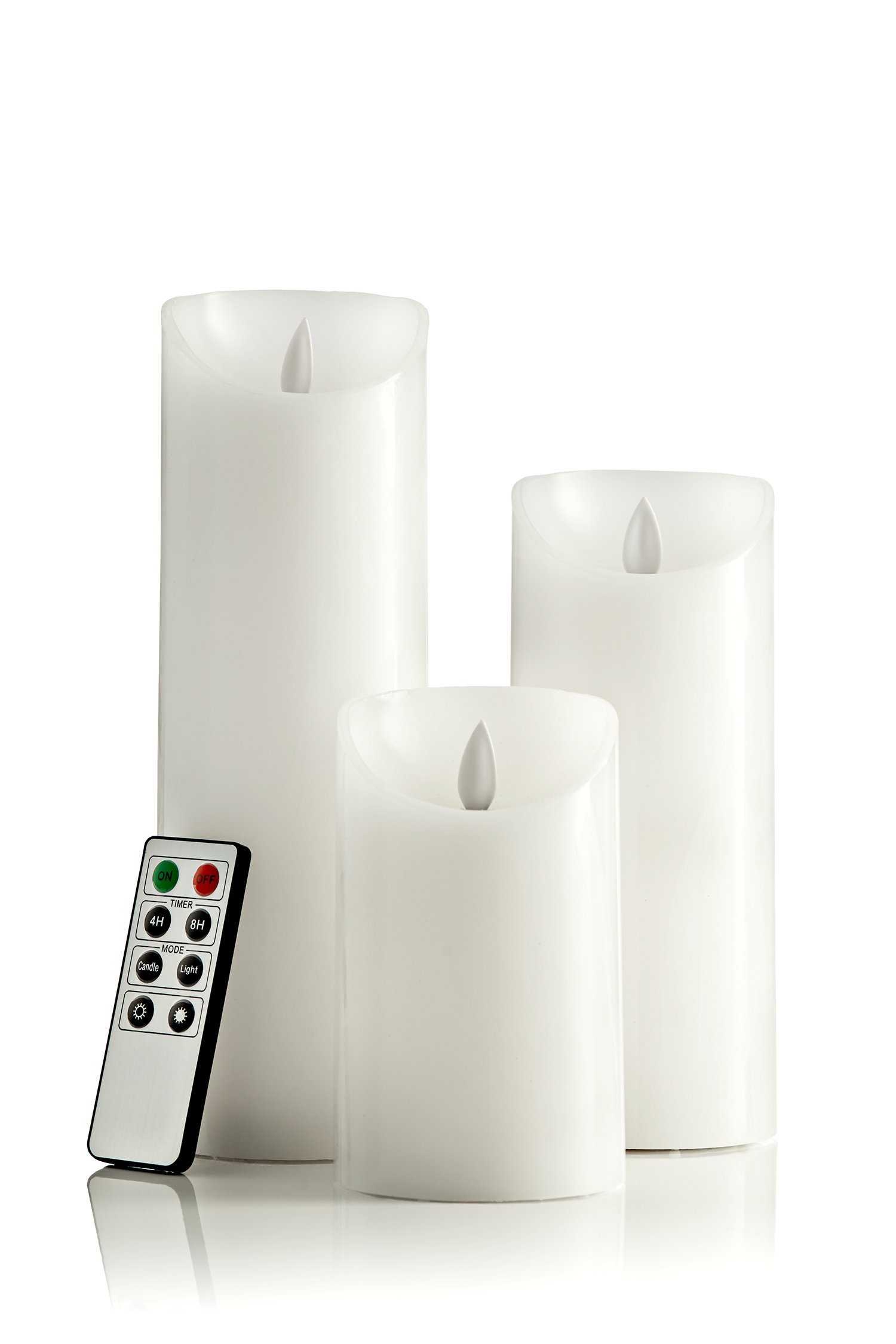 Flameless Elegant LED White Pillar Candles Battery Operated   Set of 3 with Remote Control. Sizes 5 inches   7 inches   9 inches   3 inches dia. Battery included with Remote