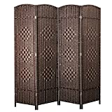 decorating dining room Cocosica Weave Fiber Room Divider, Natural Fiber Folding Privacy Screen with Double Hinge & 4 Panel Room Screen Divider Separator for Decorating Bedding, Dining, Study and Sitting Room