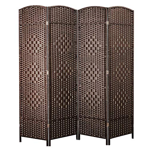 Cocosica Weave Fiber Room Divider, Natural Fiber Folding Privacy Screen with Double Hinge & 4 Panel Room Screen Divider Separator for Decorating Bedding, Dining, Study and Sitting Room