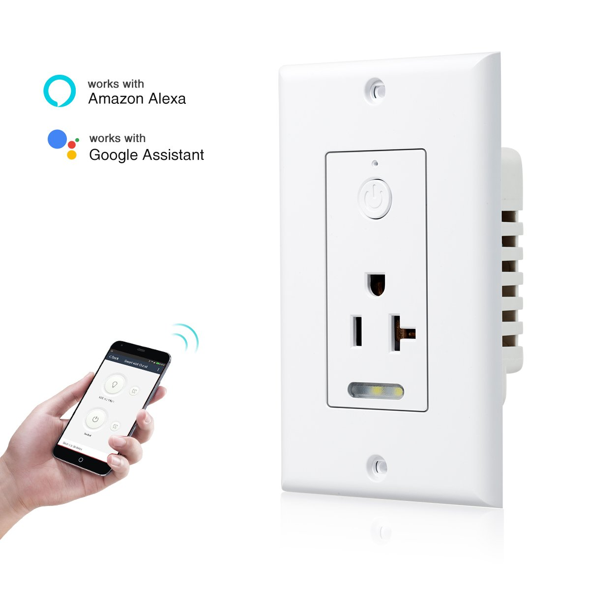 JandCase Wifi Smart Plug Wall-in Smart Outlet with Night Light and 1 Socket, 5-15 Amp Receptacle Tamper Resistant, Works with Alexa, No Hub Required, Remote Control, 1 Pack