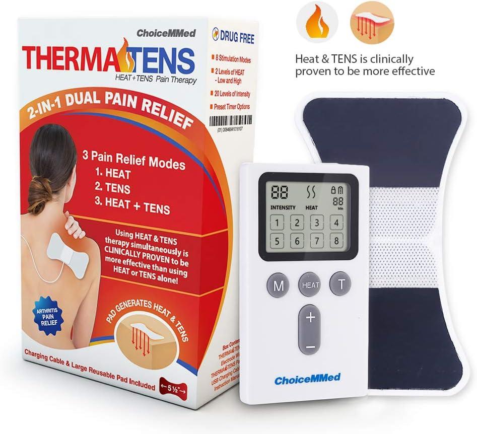 CHOICEMMED Heated TENS Unit - Rechargable Heated Portable Muscle Stimulator Machine - EMS Electrotherapy Muscle Stimulator - 1 Warming Electrode Pad - Approved Electronic Pulse Stimulator