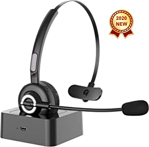 Bluetooth Headset with microphone,[2020]Sanfant V5.0 Trucker Bluetooth Headset with Mic Noise Canceling, 18hr Talk Time & Extra 200hr Power by Charge Base, Car Wireless Headset for Cell Phone/PC/Skype