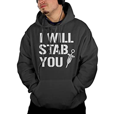 I Will Stab You Nurse Needle Mens Pullover Hooded Sweatshirt Pockets Hoodie S