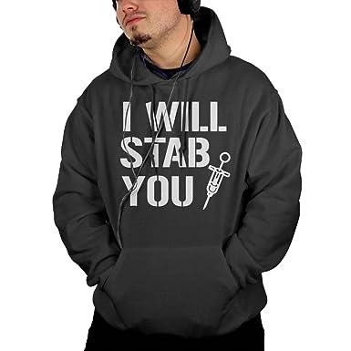 I Will Stab You Nurse Needle Mens Pullover Hooded Sweatshirt Pockets Hoodie S