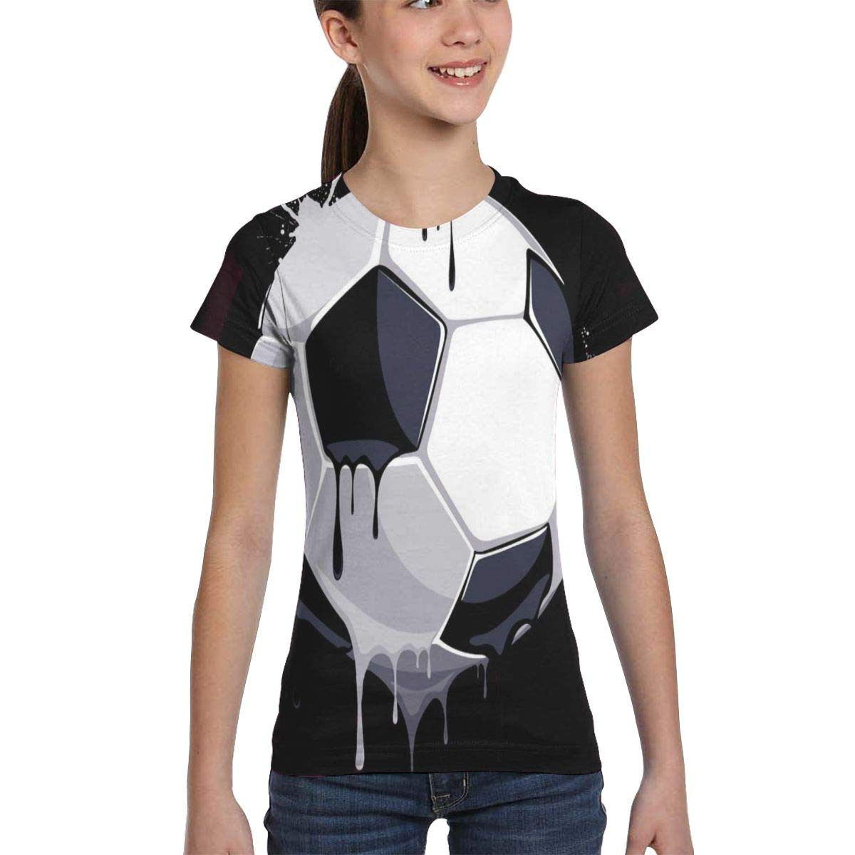 Womens Slim-Fit Short Sleeved Crewneck T-Shirt Printed Blouse for Youth Teenagers Girls Soccer Ball