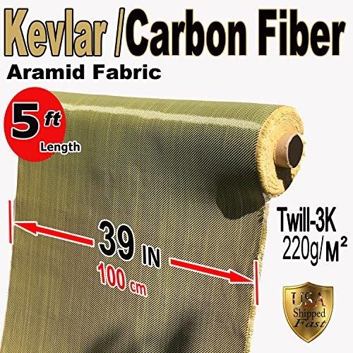 Kevlar Fabric - (YEL-Blk 5 ft x 1 Meter) 2x2 Twill WEAVE-3K/200g