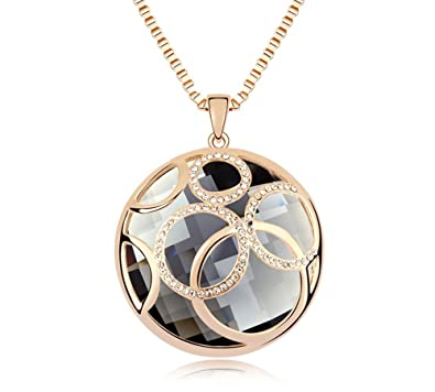 Ufengke austrian crystal retro vintage circle and circle round ufengke austrian crystal retro vintage circle and circle round crystal pendant necklace long chain women mozeypictures Gallery