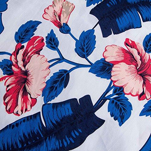 Donna Line Vintage Cocktail A Anni in anni Abito Stile Floreale KUONUO Vestito Elegante Cerimonia '50 Annata Cotone qO0axwZI