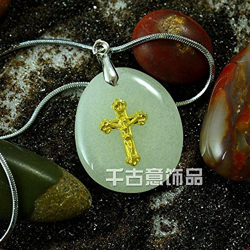 usongs Charm cross necklace pendant gleaming stone landscaping fish tank aquarium luminous stone pebbles lanyard love ()