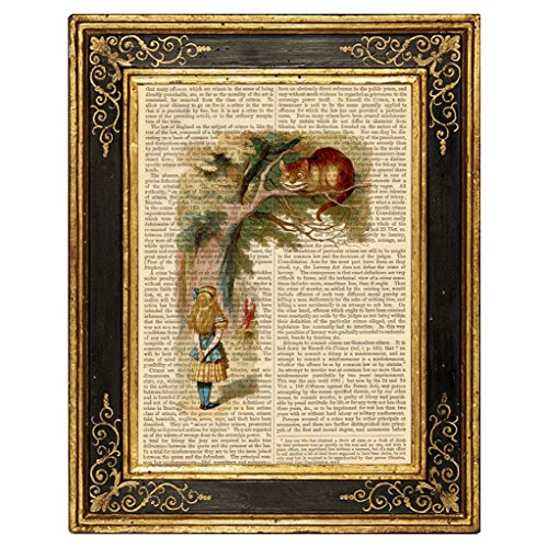 Dreamery Studio, Alice in Wonderland Art Print on Upcycled Antique Book Page, Talking to Cheshire Cat 8x10.5 (Cat On Alice And Wonderland)