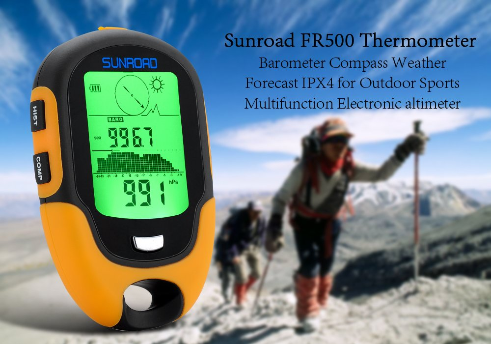 Sunroad FR500 - Appareil multifunction / Altimè tre / Baromè tre / Boussole / Thermomè tre / Hygromè tre / Lampe LED / IPX4 High-Tech Place CS9490