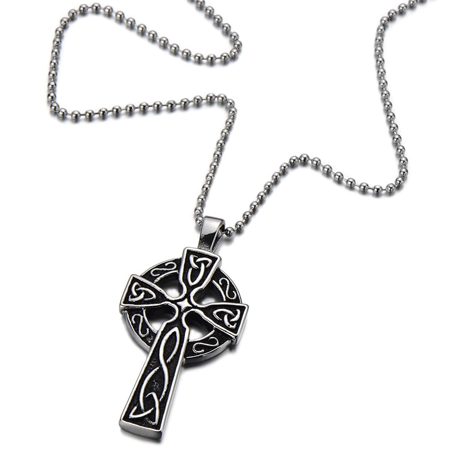 silver pendant product cross celtic claddagh ireland mens design large necklace