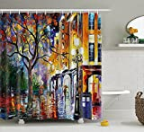 """doctor who painting - Authorized from the Artist, Leonid Afremo the Painting """"Rain in Miami"""" Doctor Who Tardis Polyester Waterproof Shower Curtains with 12pcs Hooks (66x72 inches)"""