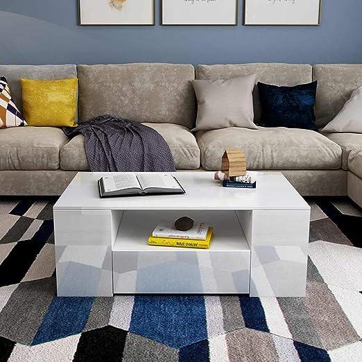 95 x 60 x 31 cm Hochglanz Kaffeetisch Sofatisch Wohnzimmertisch Kaffeetisch f/ür Wohnzimmer Wei/ß EBTOOLS Couchtisch mit 4 Schubladen