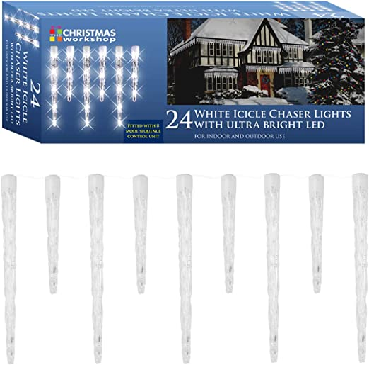 Premier LV081336B Ice Blue 24 Chaser Icicles Lights with 72 Blue LEDs
