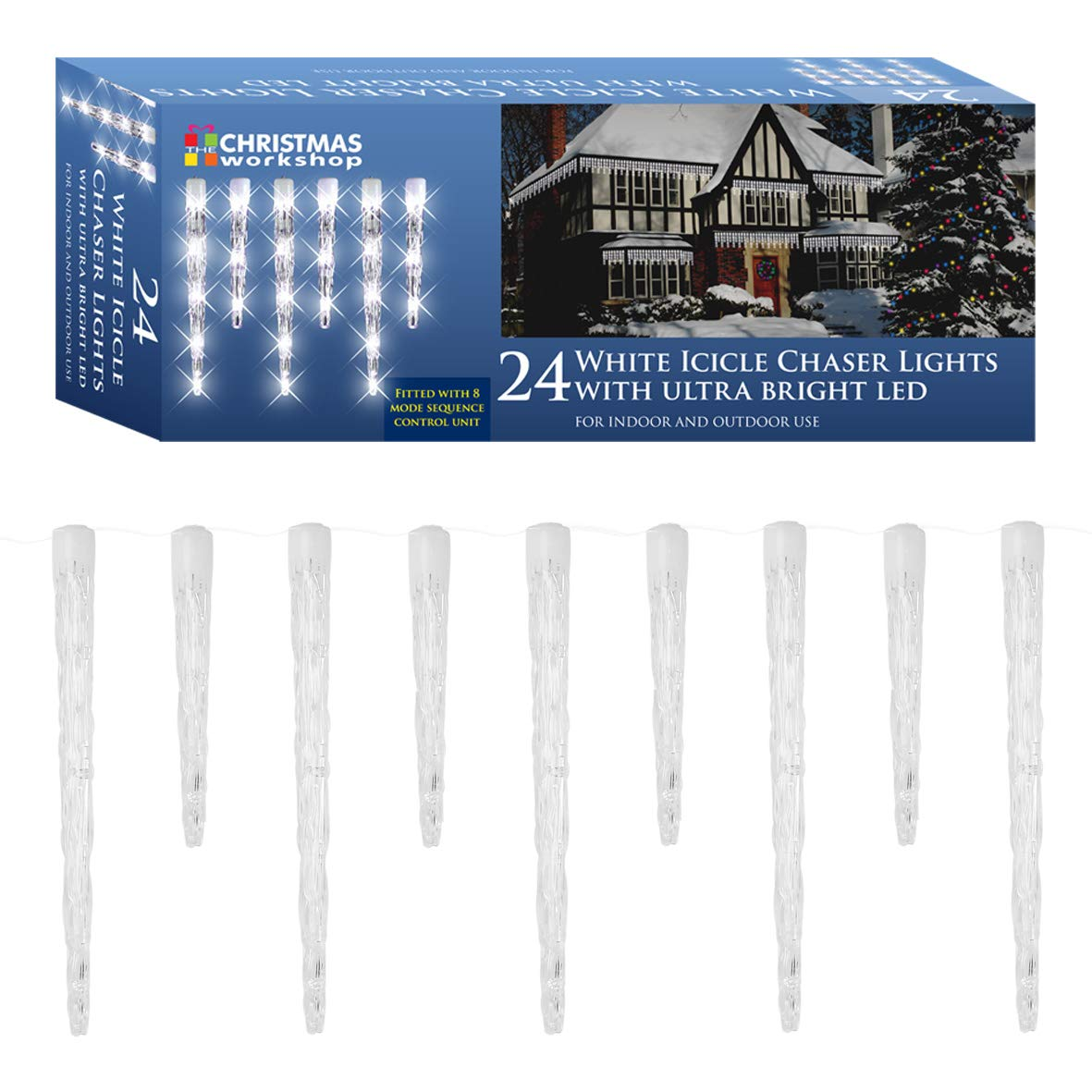 The Christmas Workshop 24 LED Icicle Chaser String Lights, Bright ...