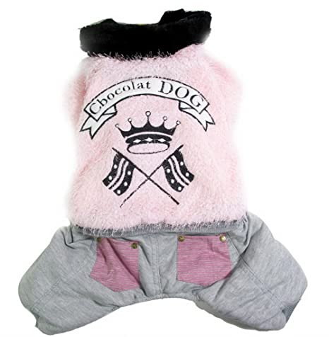 zunea Crown Fuzzy Dog Winter Jumpsuit abrigo de forro polar cálido acolchado Pet traje de Snow
