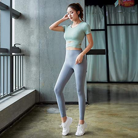 Yoga Wear New Yoga Clothes Set Sports Fitness Crossover Tight Skinny Hip Pants S97 Green P75 Light Gray S Amazon Co Uk Kitchen Home