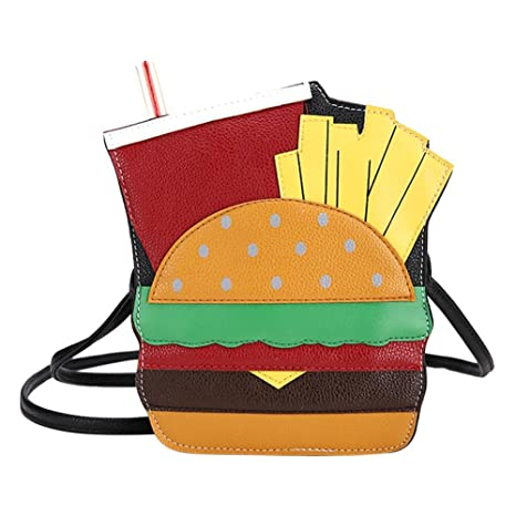 0d54b05b785f Easydeal Personality Hamburger Shape Shoulder Bags Women Leather Messenger  Chain Bag