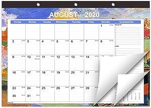 "Takuyada 2020-2021 Calendar, 18 Months Wall Calendar, 17""x12"" Large Desktop Calendar, Unique Colorful Borders Desk Calendar"