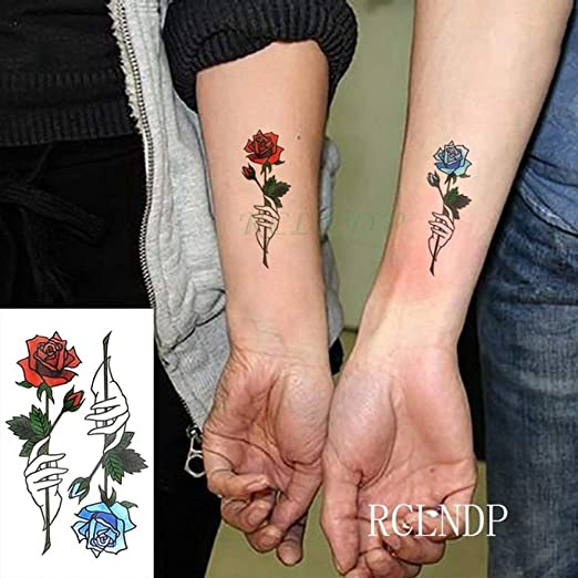 3 Piezas Etiqueta engomada del Tatuaje a Prueba de Agua Pink Lotus ...