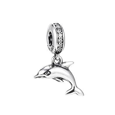 a7d933699 Amazon.com: Pandora Playful Dolphin Silver Dangle Charm 791541CZ ...
