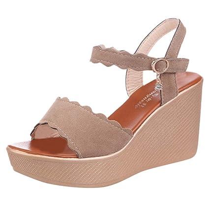 7467c3b1b1 Amazon.com: Women Ankle Strap Platform Sandal - Ladies Peep Toe Scallop  Edged Wedge Sandals - Summer Casual Shoes: Home & Kitchen