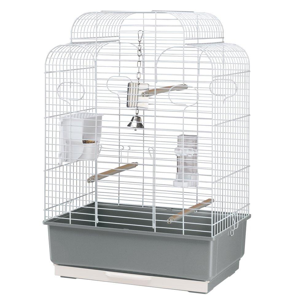 Ferplast Vogelheim Gala, Komplettausstattung, Maße: 50 x 30 x 75,5 cm, weißes Gitter