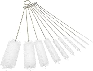 10 Pieces Cleaning Brushes for Tube Bottle the 8 Inch Brush Cleaner for Cleaning Drinking Straws, Glasses, Keyboards, Jewelry White Color