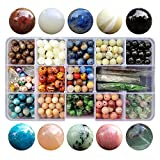 Chengmu 8mm Stone Beads Kit for Jewelry Making 230pcs Natural Gemstone Epidote Fluorite Sunstone Obsidian Assorted Color Round Loose Beads Set for Bracelet Necklace with Accessories Tools Color 2