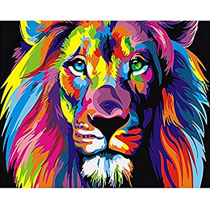 a73f75b9aca8 Paint by Number Kit,Diy Oil Painting Drawing Colourful Lion Head ...