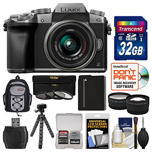 - Panasonic Lumix DMC-G7 4K Wi-Fi Digital Camera & 14-42mm Lens (Silver) with 32GB Card + Backpack + Battery + Flex Tripod + Filters + Tele/Wide Lens Kit