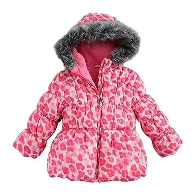 99443238c711 Amazon.com  Pistachio Girls Pink Leopard Print Winter Coat Fur Trim ...
