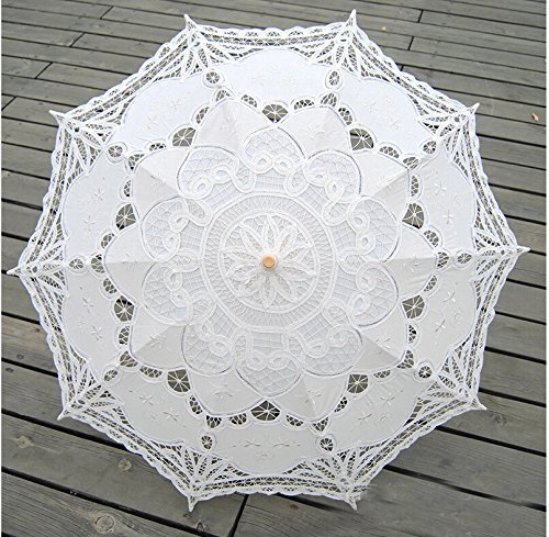 Worldoor Beautiful New Fashion Hot Sale Handmade Cotton Embroidery Beige Battenburg Lace Umbrella Parasol, Romantic Wedding Umbrella, Ivory by Worldoor (Image #1)