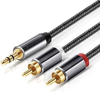 Câble RCA Jack Audio, Victeck Nylon Tressé Jack Stéréo 3.5mm Mâle vers 2 RCA Mâle Y Auxiliaire Audio Stéréo Câble- Plaqués Placcato 3 Mètres