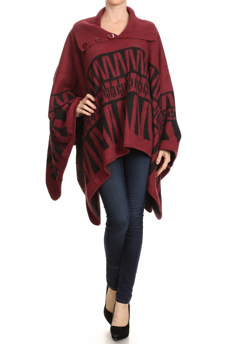 LL Womens Warm Poncho Pullover Fall Winter No Armholes Many Styles (One Size- Best for S/M to M/L, Burgundy)