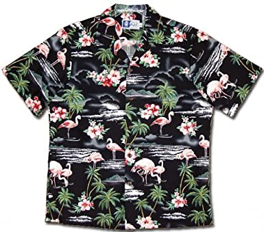 d7b8f272 Flamingo Hibiscus Hawaiian Shirts - Mens Hawaiian Shirts - Aloha Shirt - Hawaiian  Clothing - 100