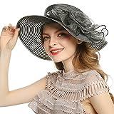 WELROG Women's Derby Church Dress Hat - Fascinators Fancy Hats Wide Brim Floppy Tea Party Wedding Sun Hats (Black #1)