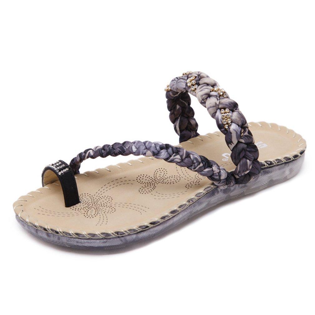 AVENBER Women's Flip Flops Slide Flat SandalsBohemian Braided Rhinestones Clip Toe Summer Beach Dressy Wear B07CMDGKTQ 8 B(M) US|Black