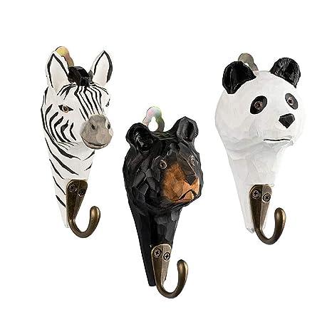 3 pared Ganchos perchero de madera Zebra, oso, Panda con ...