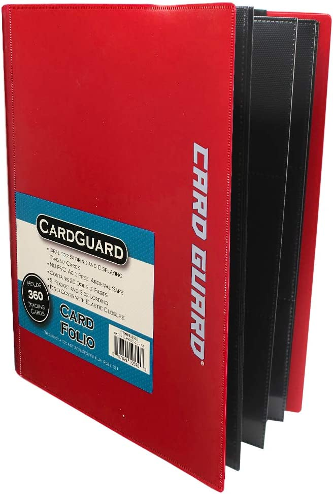 CardGuard Trading Card Pro-Folio, 9-Pocket Side-Loading Pages, Red