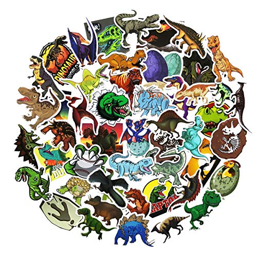 50PCS Not Repeated Dinosaur Animals Stickers Waterproof Notebook Water Bottle Skateboard Decorative Stickers for Girls and Boy (Dinosaur)