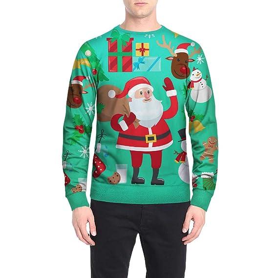 Mens Christmas Sweater Winter Hoodie Coat Jacket Xmas Hooded Sweatshirt Pullover