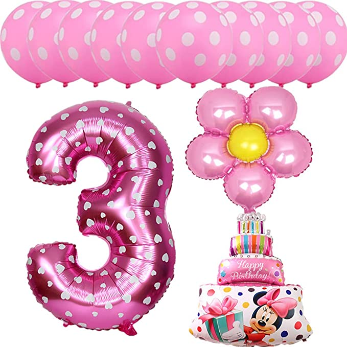 Amazon 13pcs Pink Blue Mickey Minnie Baby 3 Years Old Birthday Party Balloons Foil Helium Latex Globos Boys Girls Decor Clothing